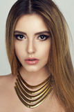 Fashion portrait of woman with jewelry Stock Photography