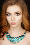 Fashion portrait of woman with jewelry Royalty Free Stock Photo