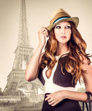 Fashion portrait of woman in Paris Royalty Free Stock Photo