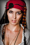 Fashion portrait of woman pirate Stock Photos