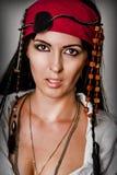 Fashion portrait of woman pirate stock photos