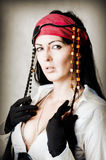Fashion portrait of woman pirate stock images