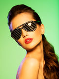 Fashion portrait of  woman wearing black sunglasses with diamond Stock Photos