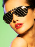 Fashion portrait of  woman wearing black sunglasses with diamond Royalty Free Stock Image