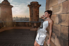 Fashion portrait of young attractive brunette Royalty Free Stock Photo