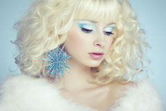 Fashion portrait of a young beautiful blonde woman. Winter style Royalty Free Stock Photos