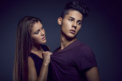 Fashion portrait of young beautiful couple Stock Photo