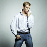 Fashion portrait of young beautiful man Stock Images