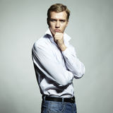 Fashion portrait of young beautiful man Royalty Free Stock Photos