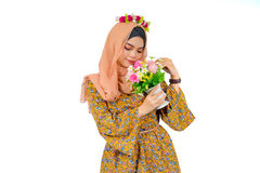 Fashion portrait of young beautiful muslim woman, royalty free stock images