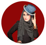 Fashion portrait of young beautiful muslim woman with black scar. F Stock Image