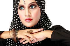 Fashion portrait of young beautiful muslim woman with black scar Royalty Free Stock Photo