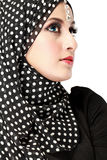 Fashion portrait of young beautiful muslim woman with black scar. F isolated on white background Royalty Free Stock Photos