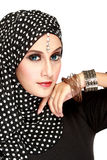 Fashion portrait of young beautiful muslim woman with black scar. F isolated on white background Royalty Free Stock Photography