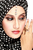 Fashion portrait of young beautiful muslim woman with black scar Royalty Free Stock Images