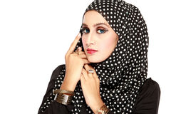 Fashion portrait of young beautiful muslim woman with black scar. F isolated on white background Stock Images