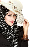 Fashion portrait of young beautiful muslim woman with black scar. F isolated on white background Royalty Free Stock Image