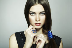 Fashion portrait of young beautiful woman Royalty Free Stock Image