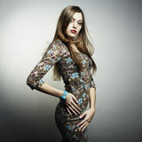 Fashion portrait of young beautiful woman Stock Image