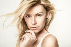 Fashion portrait of young beautiful woman Stock Photography