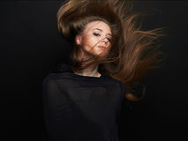 Fashion portrait of young beautiful woman with healthy hair Royalty Free Stock Photography