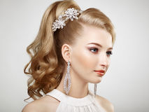 Fashion portrait of young beautiful woman with jewelry Stock Photos