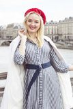 Fashion portrait of young beautiful woman in Paris. Royalty Free Stock Photography