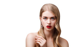 Fashion portrait of young beautiful woman with perfect make-up a Stock Photos