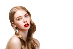 Fashion portrait of young beautiful woman with perfect make-up a Royalty Free Stock Images