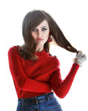 Fashion portrait of young beautiful woman in retro style royalty free stock photos