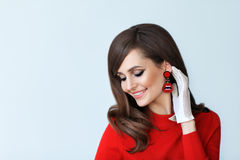 Fashion portrait of young beautiful woman in retro style on whit Stock Images