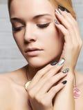 Fashion portrait of young beautiful woman.Sensual Blond beauty girl face Stock Photography