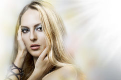Fashion portrait of young beauty woman face. Royalty Free Stock Images