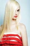 Fashion portrait of a young blonde woman Stock Photography