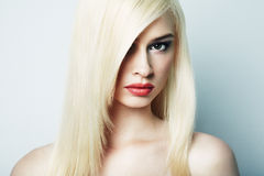 Fashion portrait of a young blonde woman Stock Photo