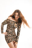 Fashion portrait of young brunette girl in leopard dress Stock Photo