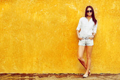 Fashion portrait of young brunette model posing by the wall Stock Photography