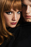 Fashion portrait of a young couple Stock Images