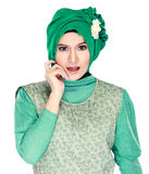 Fashion portrait of young happy beautiful muslim woman with gree Royalty Free Stock Photos