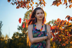 Fashion portrait of young hippie woman walking in autumn field. Romantic sunny evening Royalty Free Stock Image