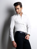 Fashion portrait of young man in white shirt Royalty Free Stock Photos
