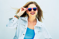 Fashion portrait of young model . Sunglasses pink Royalty Free Stock Image