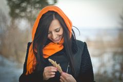Fashion portrait of young muslim wearing hijab royalty free stock image