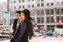 Fashion portrait of young pretty model wears wide-brimmed hat. L stock photos