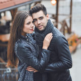 Fashion portrait of young sensual and handsome couple - outdoors Royalty Free Stock Images