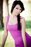 Fashion portrait of young sexy brunette woman Stock Photos
