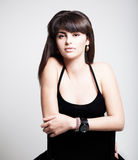 Fashion portrait. Portrait of young sexy woman wearing black Stock Image