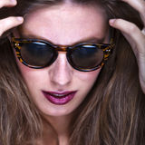 Fashion portrait of young and stylish woman Royalty Free Stock Photography