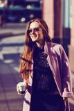 Fashion portrait of young stylish woman royalty free stock photography