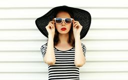 Fashion portrait young woman in black summer straw hat posing on white wall. Background royalty free stock images